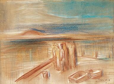 Egry József Alakok a stégen című festménye