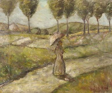 Egry József Napernyős hölgy című festménye