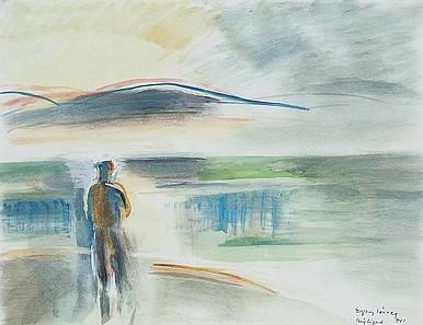 Egry József Távolba néző című festménye