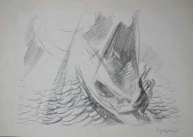 Egry József Vihar a Balatonon című grafikája